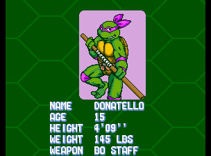 Teenage Mutant Ninja Turtles - Turtles in Time (4 Players ver UAA) - Character Profile Don - Player 3: Donatello - User Screenshot