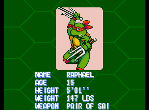 Teenage Mutant Ninja Turtles - Turtles in Time (4 Players ver UAA) - Character Profile Raph - Player 4: Raphael - User Screenshot