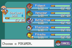 Pokemon Ash Gray (beta 2.5z) - Pre-Lt. Surge Team, Trained up Char-Char :) - User Screenshot