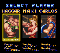 Final Fight 2 - Character Selection - User Screenshot