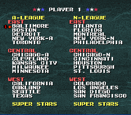 Tecmo Super Baseball - Team Selection - User Screenshot