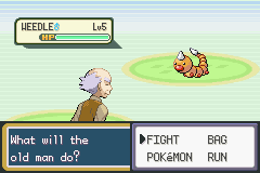 Pokemon Fire Red - Battle  - The old man will fight - User Screenshot