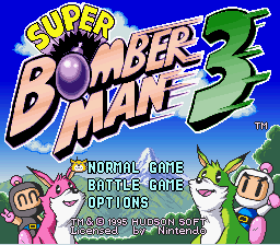 Super Bomberman 3 - Colorful title Screen. - User Screenshot