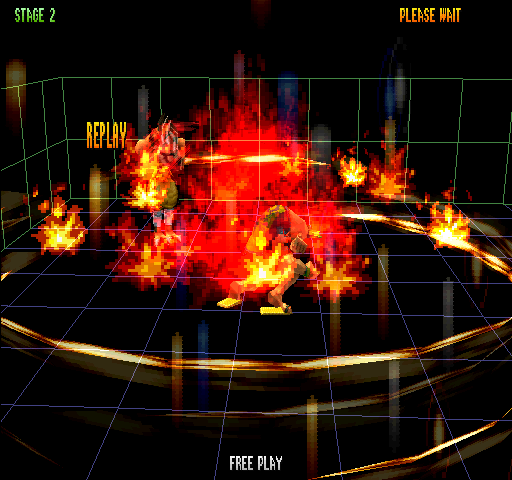 Bloody Roar 2 (World) - Level Stage 2 - Supers (A+B+K) turn stage to wireframe - User Screenshot