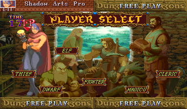Dungeons & Dragons: Shadow over Mystara (Euro 960619) - Character Select  - Thief is great at combos, can open any chest - User Screenshot