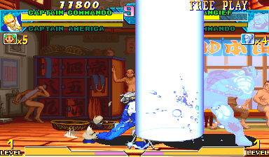 Marvel Vs. Capcom: Clash of Super Heroes (Euro 980123) - Battle  - Captain Corridor! - User Screenshot
