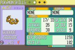 Pokemon Sapphire - shiny geodude befor  1 gym - User Screenshot