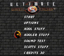 Ultimate Mortal Kombat 3 - full menu screen - User Screenshot