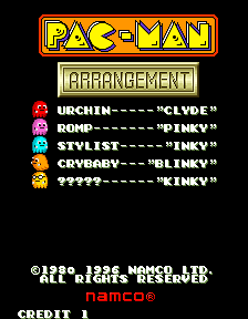 Clyde -Menus Title Screen:PAC-MAN Arrangement Title screen. - User Screenshot