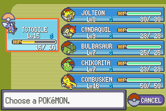 Pokemon Tiberium - my team after the 1st gym - User Screenshot