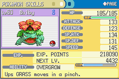 Pokemon Fire Red - Character Profile Character Stats - My Venasaur! - User Screenshot
