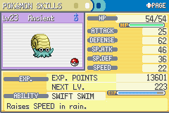 Pokemon Fire Red - Character Profile Pokemon Stats - My Omanyte!  :D - User Screenshot