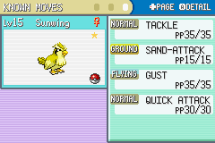 Pokemon Shiny Gold - Character Profile  - My shiny gold Pidgey in Pokemon Shiny Gold - User Screenshot
