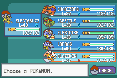 Pokemon Fire Red Omega - my team before the 6th gym - User Screenshot