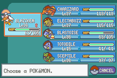 Pokemon Fire Red Omega - my team before the 4th gym - User Screenshot