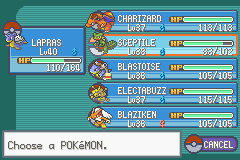 Pokemon Fire Red Omega - my true team before the 4th gym - User Screenshot