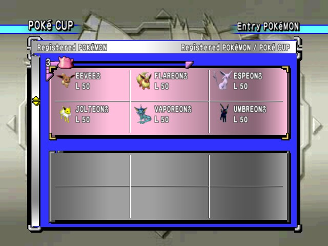 Pokemon Stadium 2 - Menus  - The eevee evolution - User Screenshot