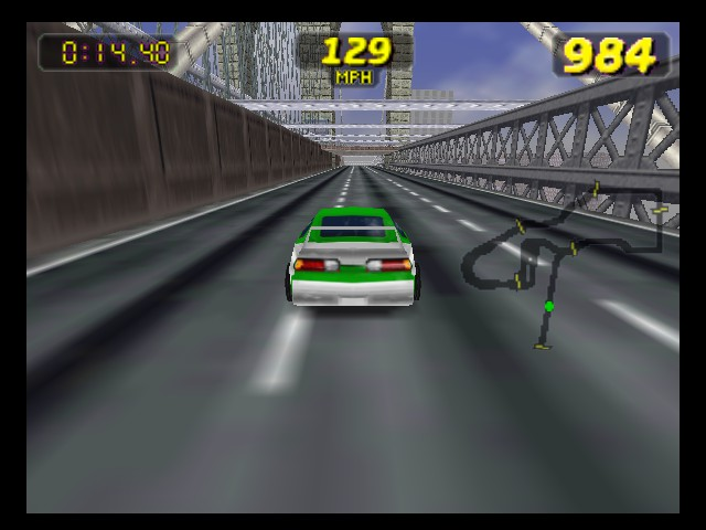 Rush 2 - Extreme Racing USA - Level  - Driving over the Brooklyn Bridge - User Screenshot