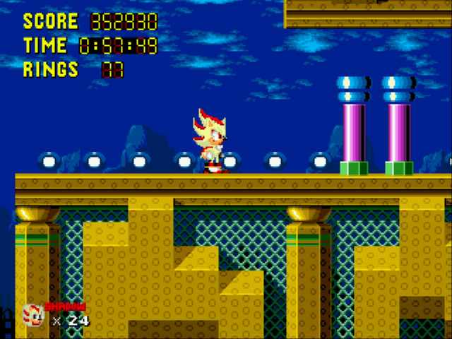 Sonic 1 Megamix (v3.0) - Misc  - SUPER SHADOW!!! - User Screenshot