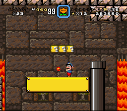 Super Mario World - Secret of the 7 Golden Statues - Fire instead of ice. o_O - User Screenshot