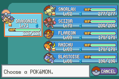 Pokemon Ash Gray (beta 3.61) - league four champ best team - User Screenshot