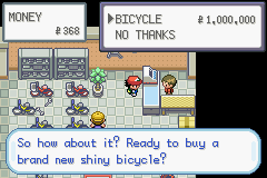 Pokemon Ash Gray (beta 2.5z) - WTF!!! who would pay this much for a bike! - User Screenshot