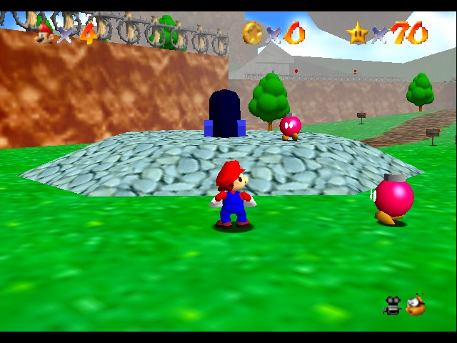 Super Mario 64 - Level Bob-omb Battlefield - level 1 but i want to go to level 2!!!!! - User Screenshot