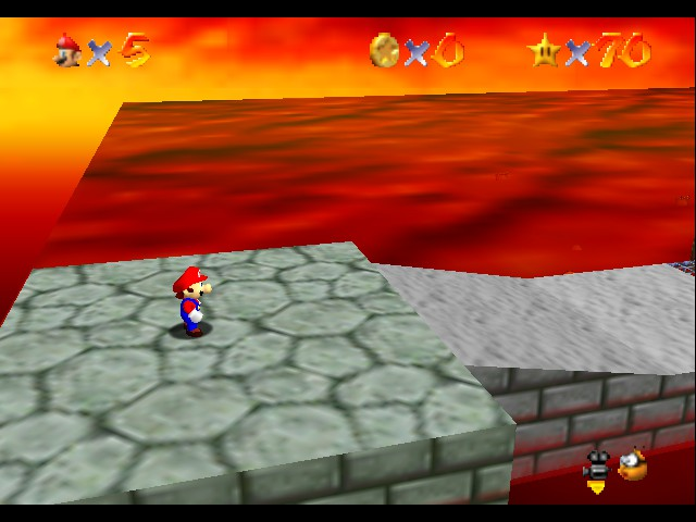 Super Mario 64 - Level bowser in lava land - fire again dang you bowser - User Screenshot