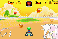 Mario Kart - Super Circuit - Level Cheep Cheep Island - Crabs and jumping fish - User Screenshot