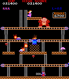 Donkey Kong (US set 1) - Finally, the pie factory. - User Screenshot