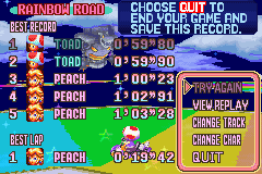 Mario Kart - Super Circuit - Level Rainbow Road - try beating this record from 1st to 2nd..,hah - User Screenshot