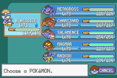 Pokemon Fire Red Omega - my team second time around e4 - User Screenshot
