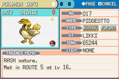 Pokemon Leaf Green - Shiny pidgeotto :D - User Screenshot