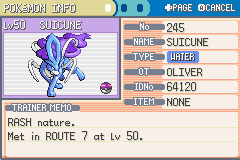 Pokemon Fire Red - Character Profile  - suicune - User Screenshot