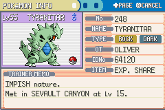 Pokemon Fire Red - Character Profile  - tyranitar - User Screenshot