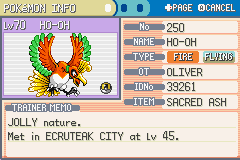 Pokemon Shiny Gold - Character Profile  - ho-oh - User Screenshot