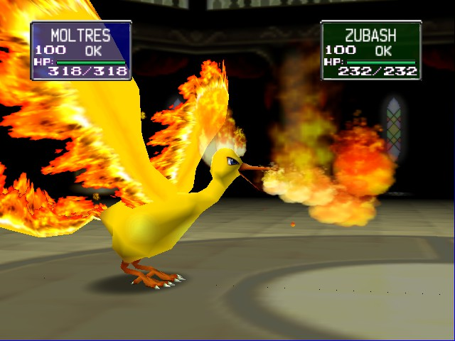 Pokemon Stadium - Character Select  - moltres fire blast - User Screenshot