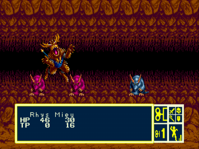 Phantasy Star III - Generations of Doom - Cave fighting... - User Screenshot