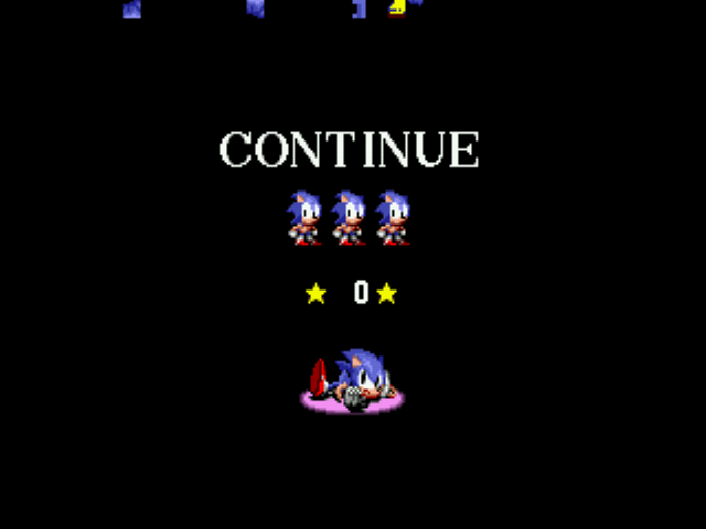 Sonic game over screen gameover coninue screen