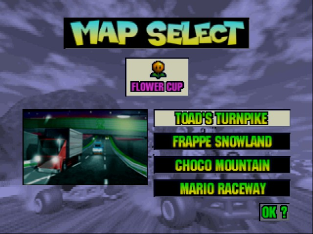 Mario Kart 64 - Level Select  - The Mario Kart 64 level I beat David in - User Screenshot