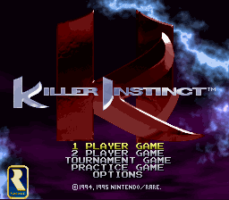 Killer Instinct - Mode Select  - 1 Player Game Mode - User Screenshot