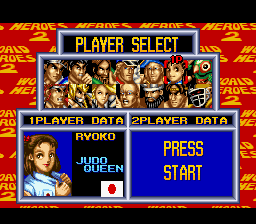 World Heroes 2 - Character Select  - Ryoko - User Screenshot