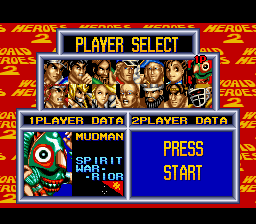 World Heroes 2 - Character Select  - Mudman - User Screenshot