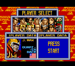 World Heroes 2 - Character Select  - J. Max - User Screenshot