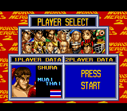 World Heroes 2 - Character Select  - Shura - User Screenshot