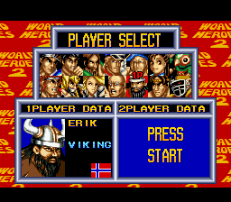 World Heroes 2 - Character Select  - Erik - User Screenshot
