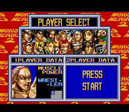 World Heroes 2 - Character Select  - Muscle - User Screenshot
