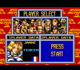 World Heroes 2 - Character Select  - Janne - User Screenshot