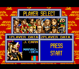 World Heroes 2 - Character Select  - J. Carn - User Screenshot