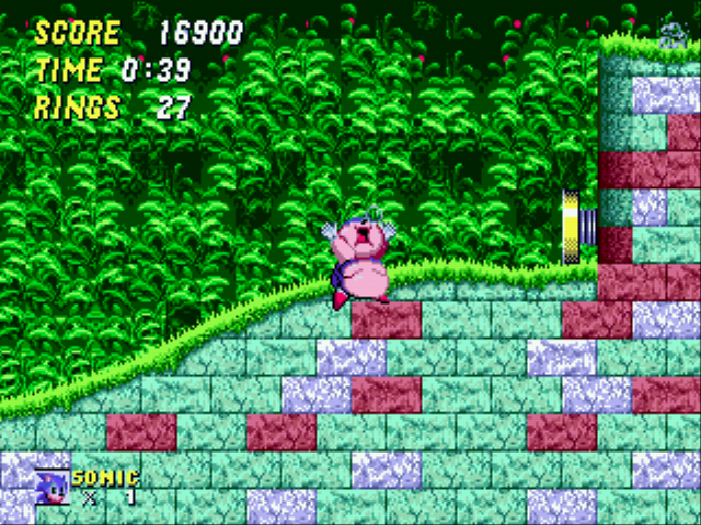 Sonic 2 XL - Level  - lol he was going to die 1 of 2 ways :D - User Screenshot